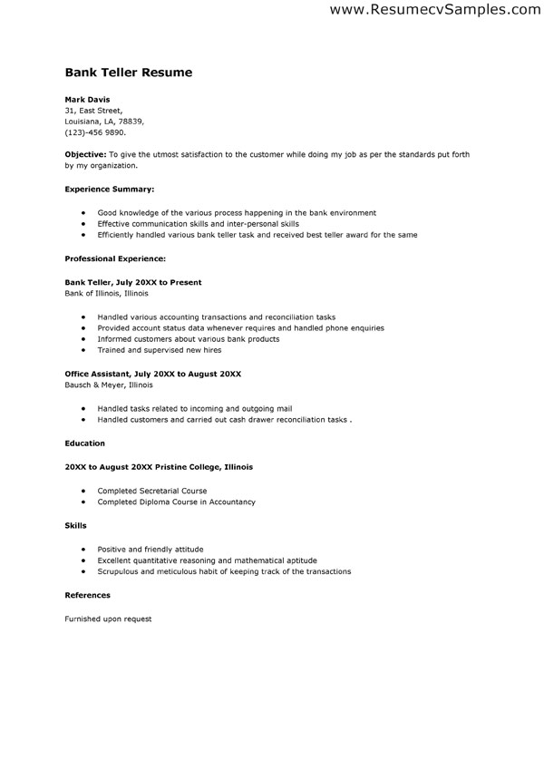 Sample Resume Of Bank Teller