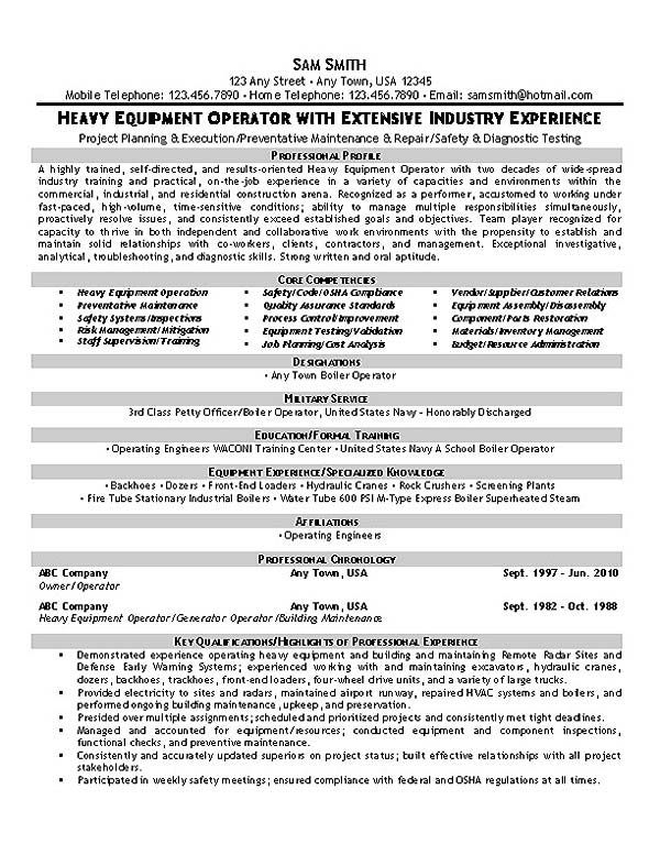 This Equipment Operator Resume Sample With Extensive