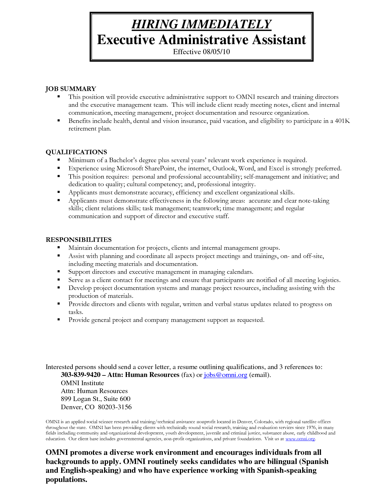 administrative assistant duties construction company sample resume - Administrative Assistant Example Resume