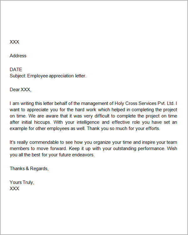 appreciation letter to employee Employee Appreciation Letter Sample  SampleBusinessResumecom