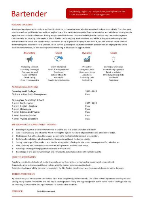 16 Free Bartender Resume Templates SampleBusinessResume