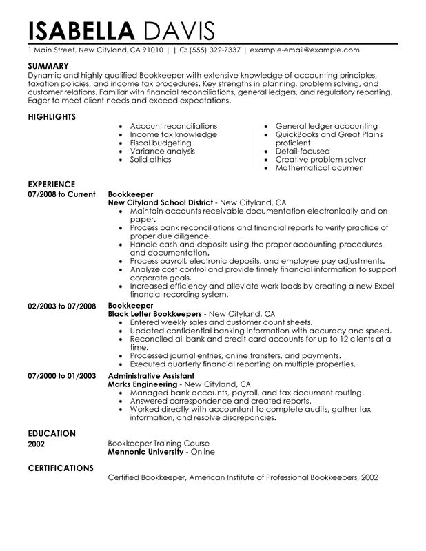 resume career objective examples bookkeeper
