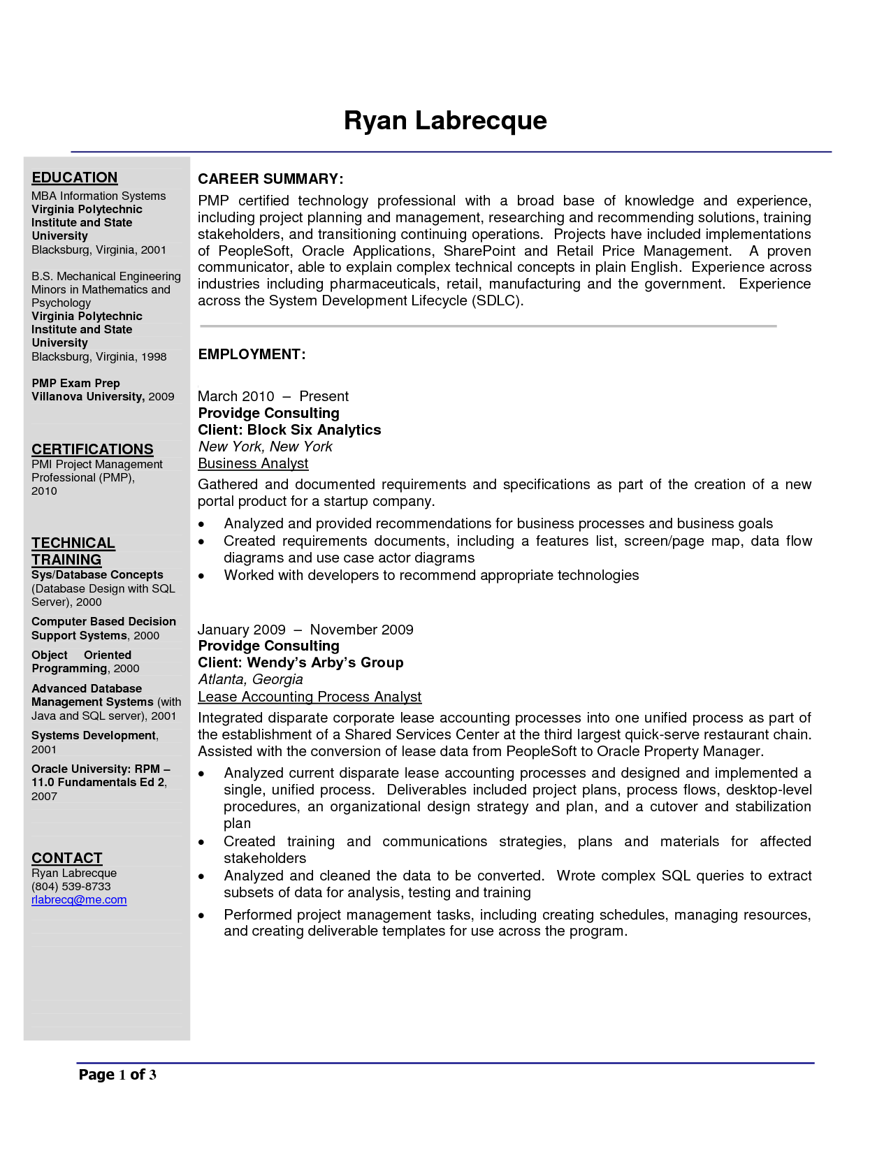 Example Business Analyst Resume
