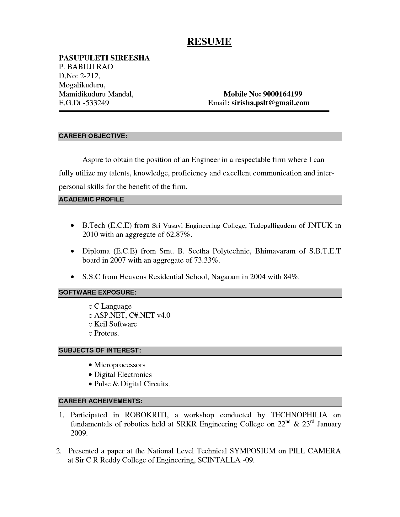 Resume Format With Objective | Sample Of Objective On Resume Template Free Label Templates