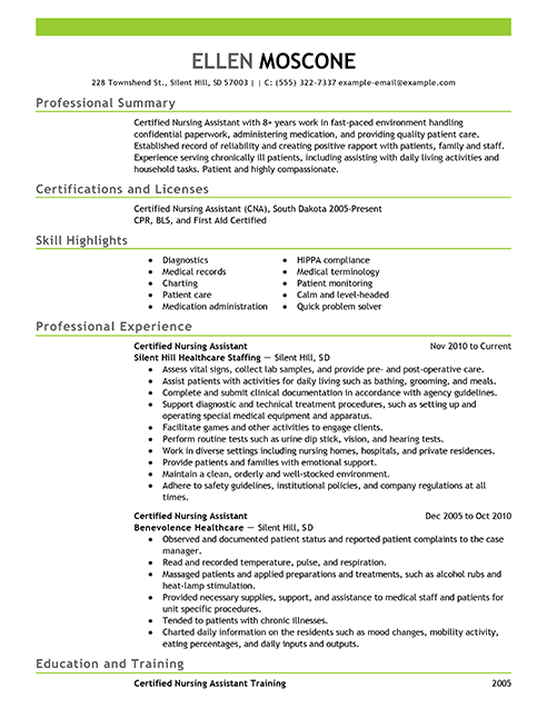Certified Nursing Assistant Resume Objective Examples Certified