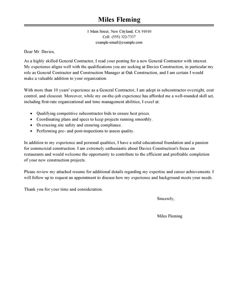 General Resume Cover Letter Examples