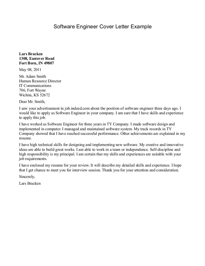 Charming Cover Letter For Internship Engineer Software Engineer Cover