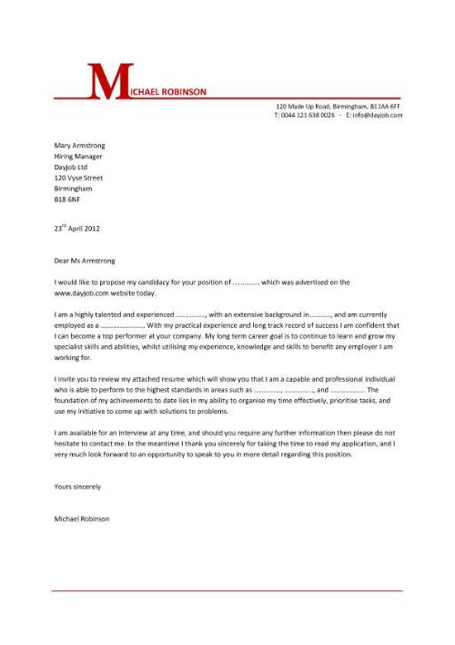 cv and english letter to employer