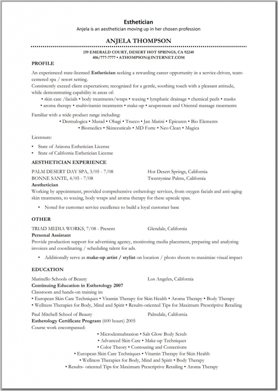 Esthetician Resume Samples Esthetician Resume Objective By