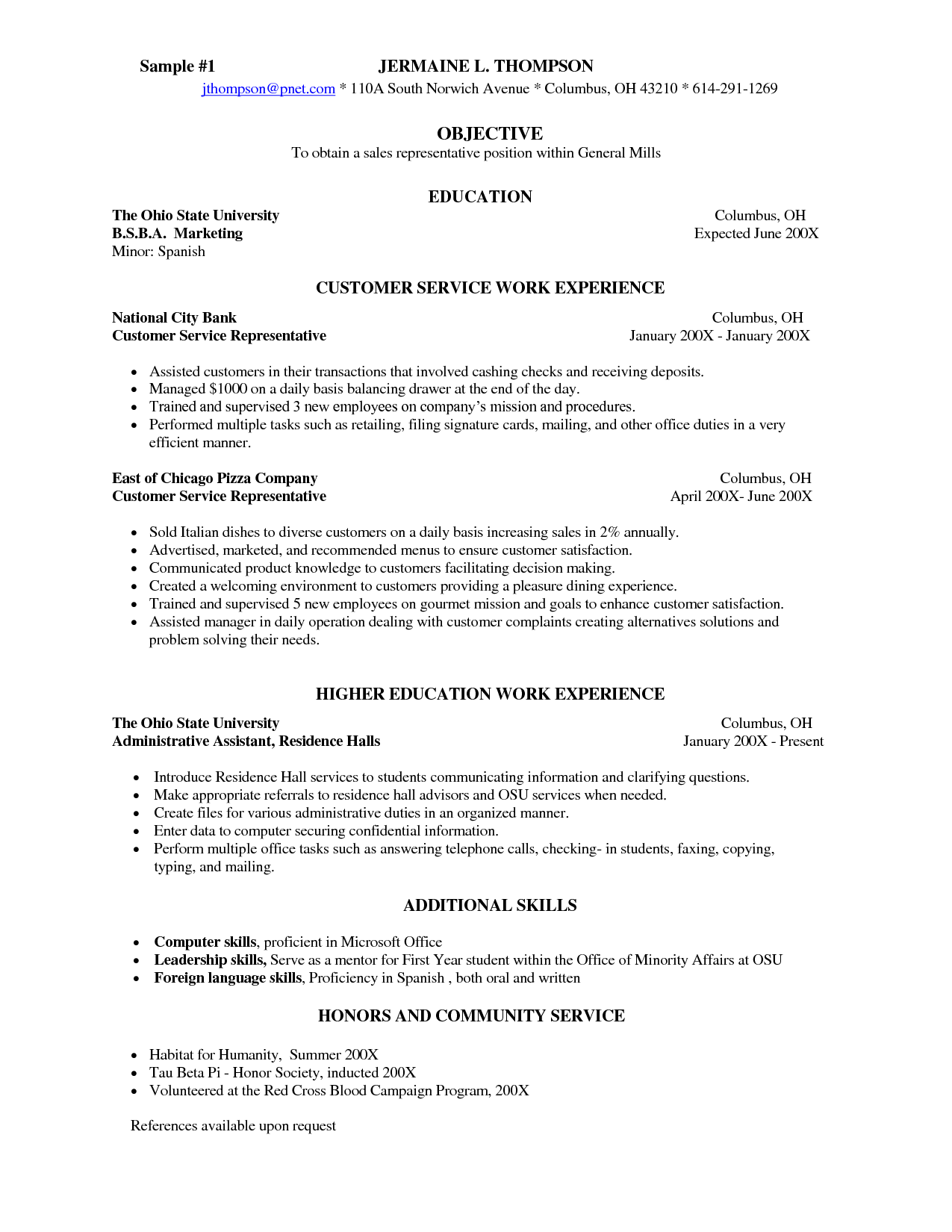Restaurant Server Description For Resume 10 Server Resume Samples Samplebusinessresume