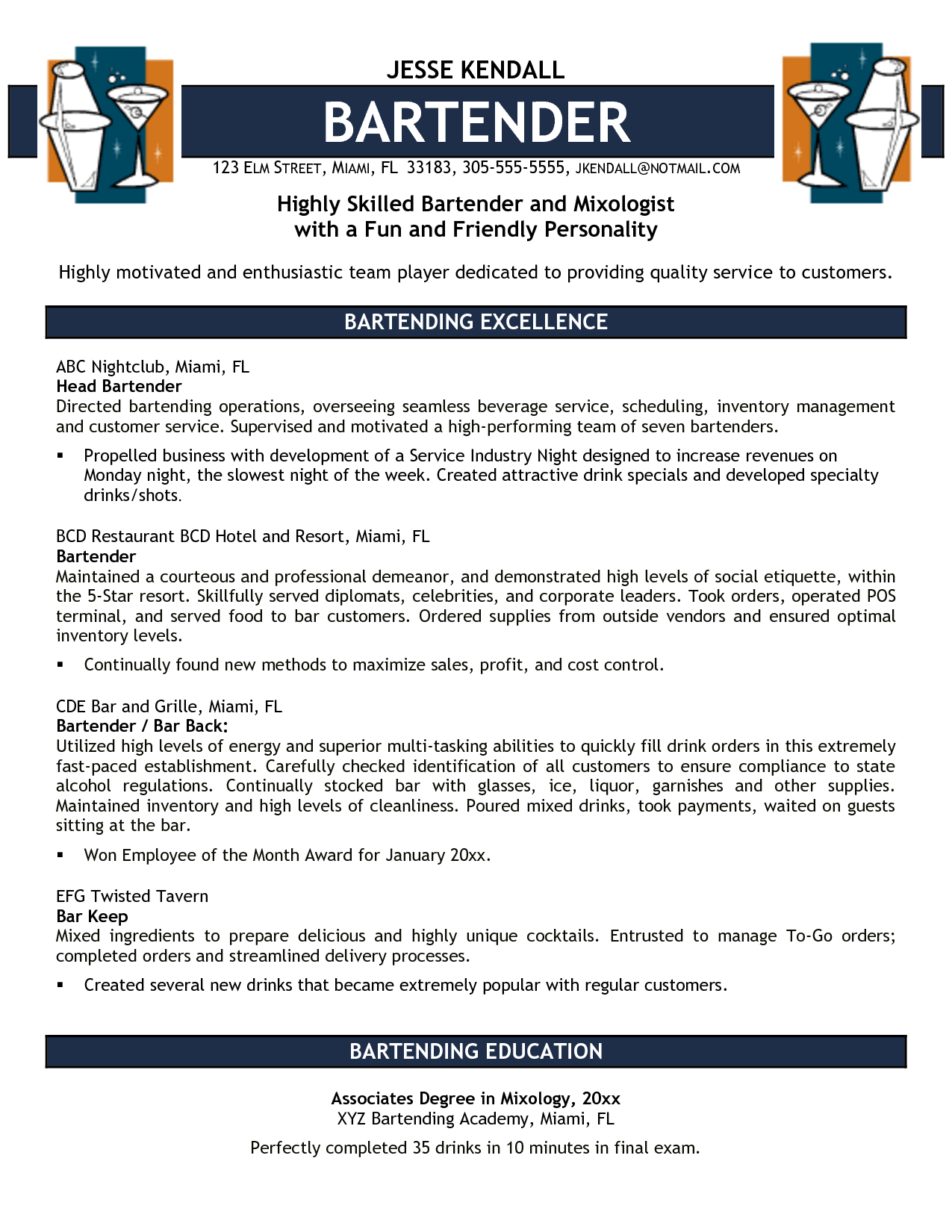 Bartender Duties On Resume 16 Free Bartender Resume Templates Samplebusinessresume