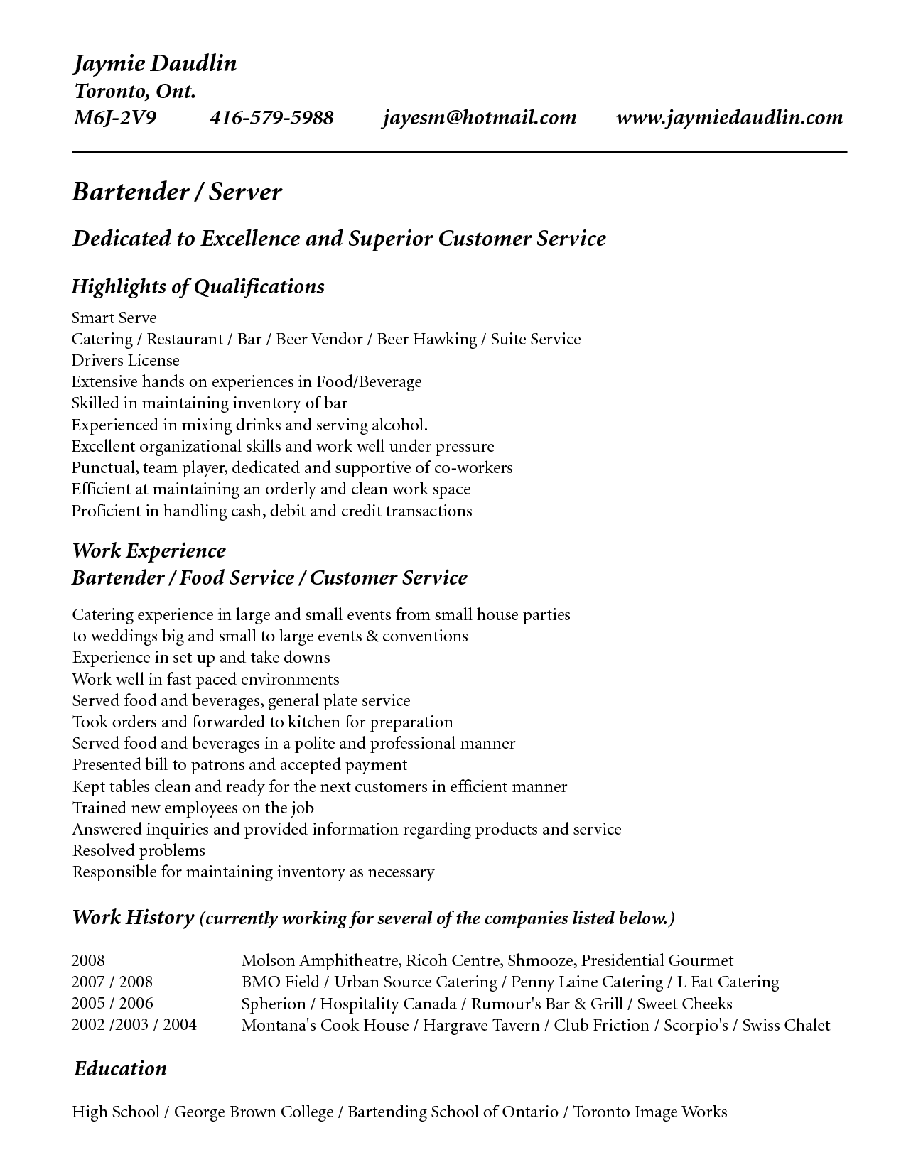 Example Of Bartender Resume