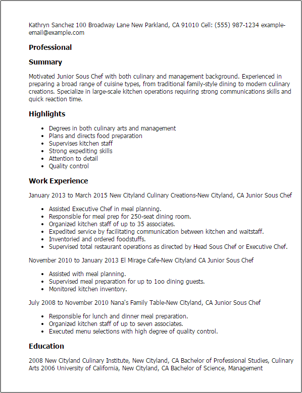 resume cover letter chef