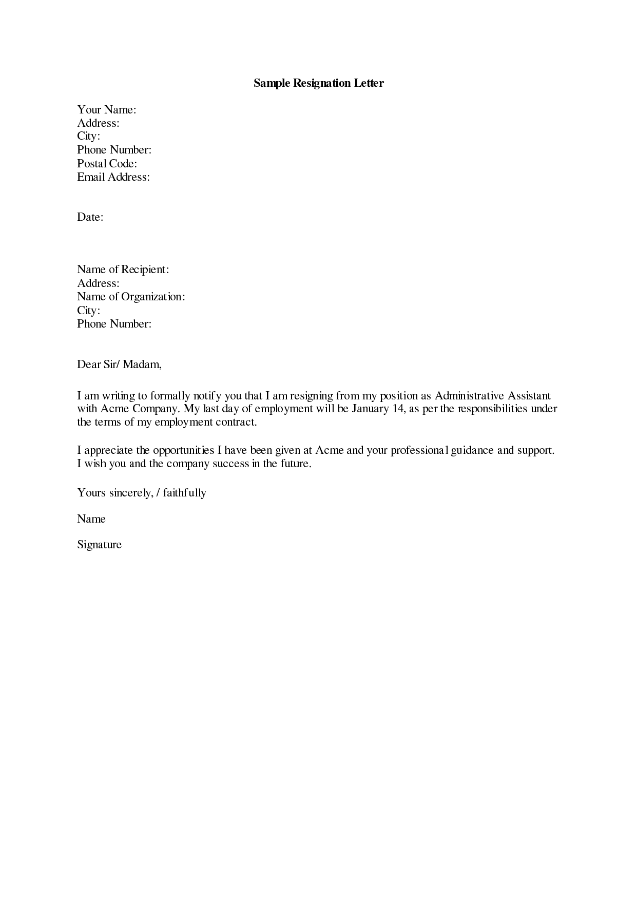 Letter Of Resignation Example Sample Letter Of Resignation