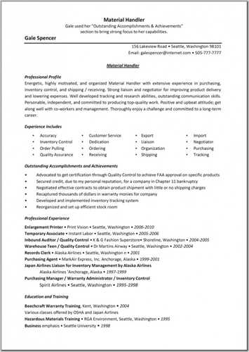 10 Material Handler Resume Sample SampleBusinessResume