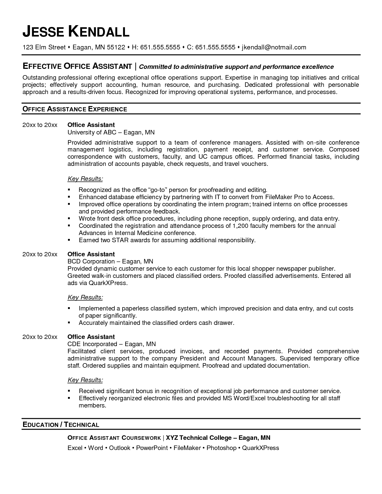 Medical fice Assistant Resume Examples