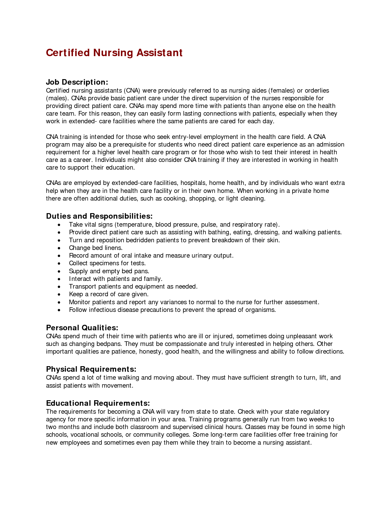 Certified Medical Assistant Resume Sample Sample Cna Certified Nursing Assistant Job Description