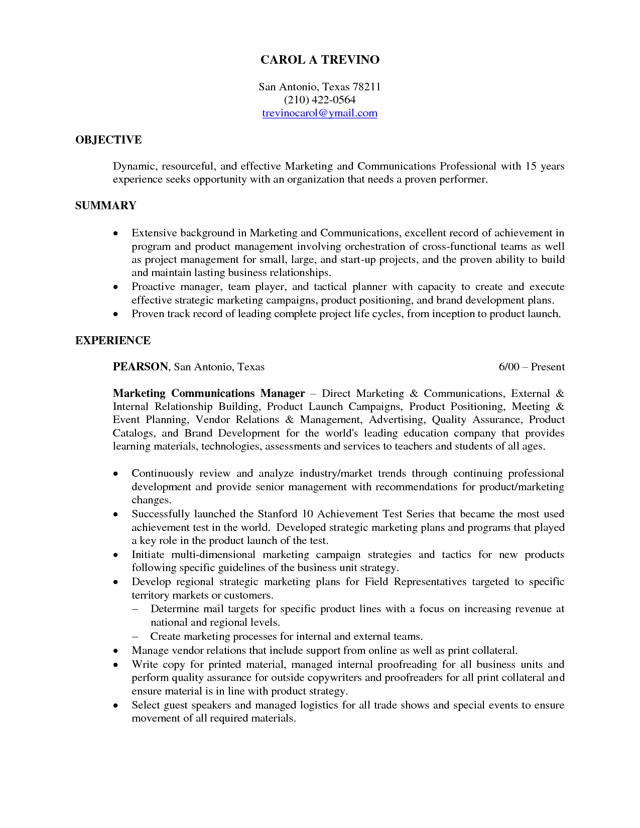Marketing Resume Summary Statement Examples 15 Objective Resume Examples Samplebusinessresume