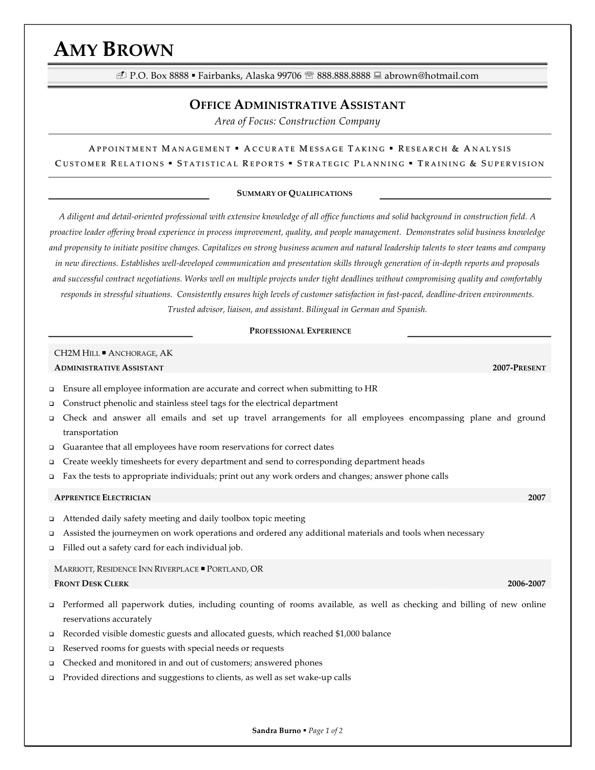 Bank Sales Executive Resume Office Administrative Assistant Sample Resume For