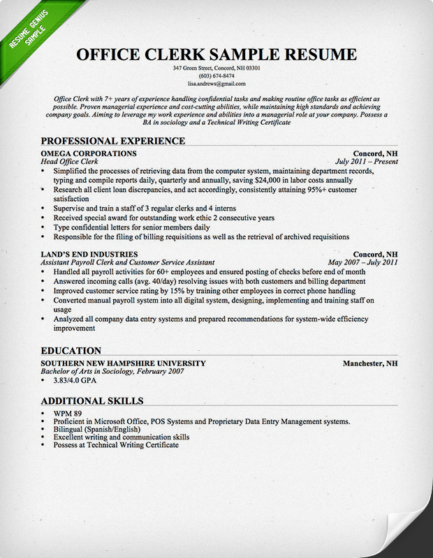 office clerical resume
