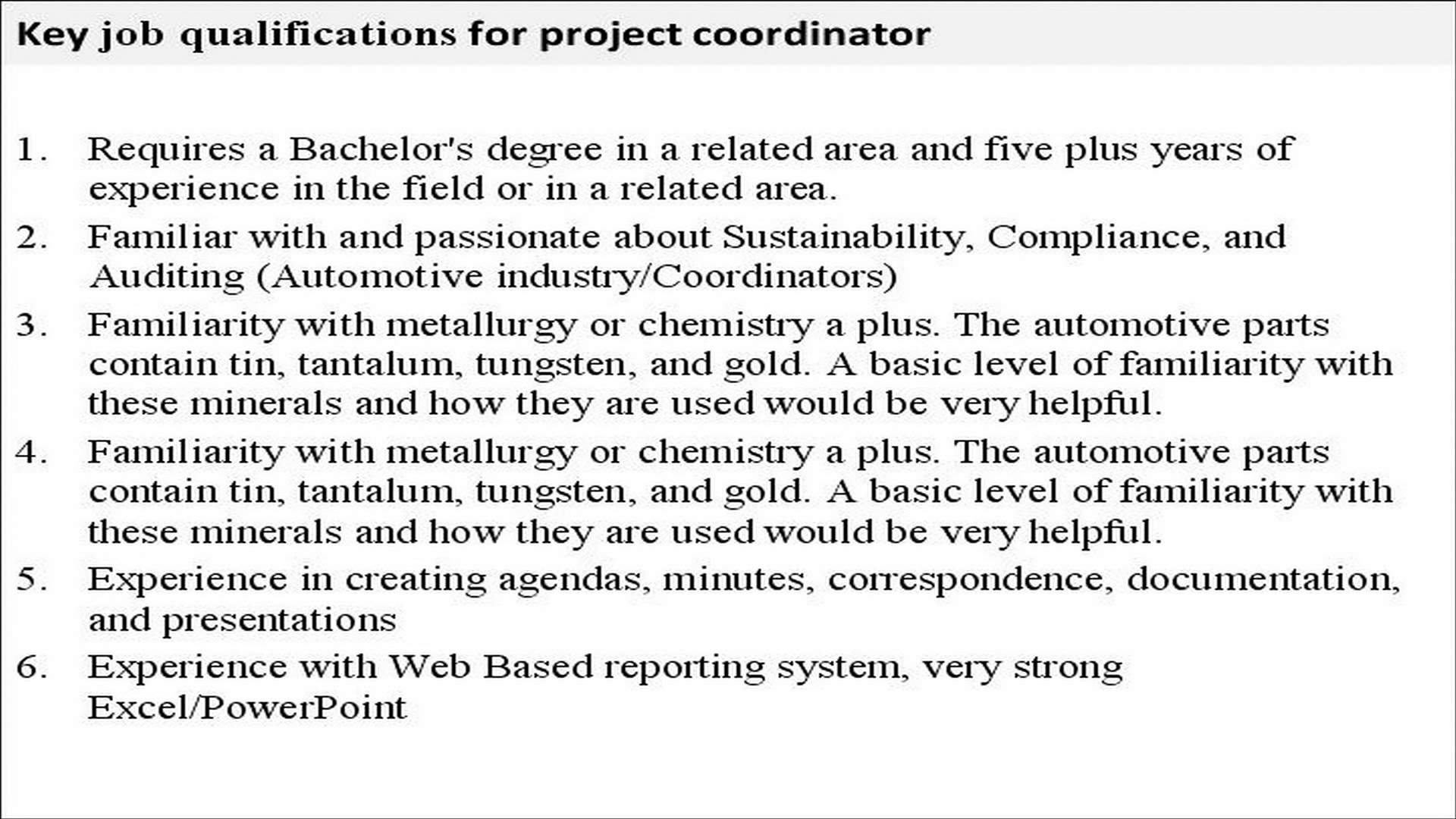 Project Manager Duties And Responsibilities Resume 10 Project Coordinator Job Description