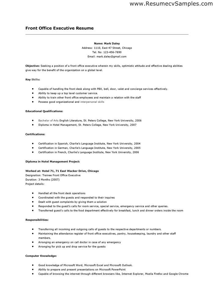Front Desk Jobs Resume Sample SampleBusinessResume Com