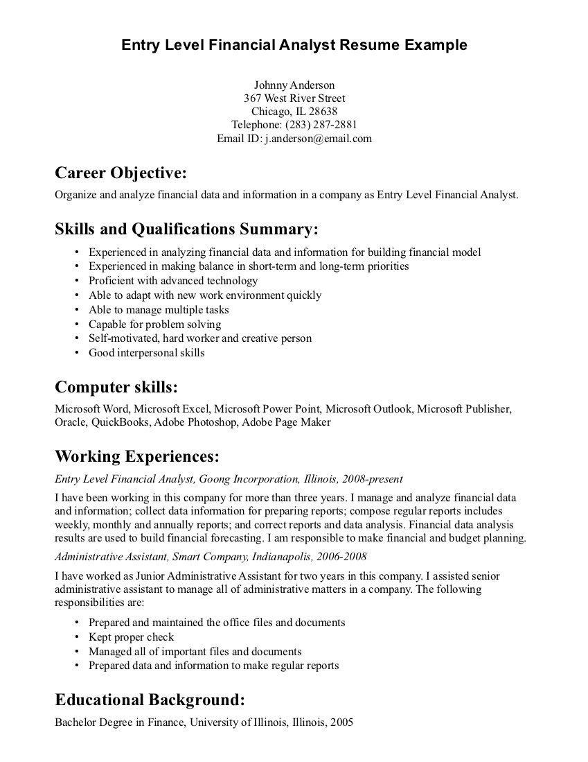 resume Good Objectives For A Resume good objective resume examples of resumes samples for entry level resume