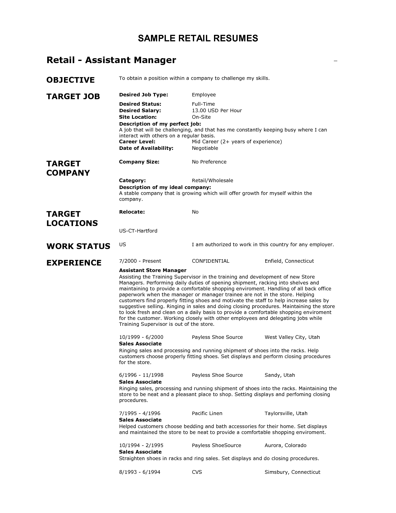 resume samples for retail management position
