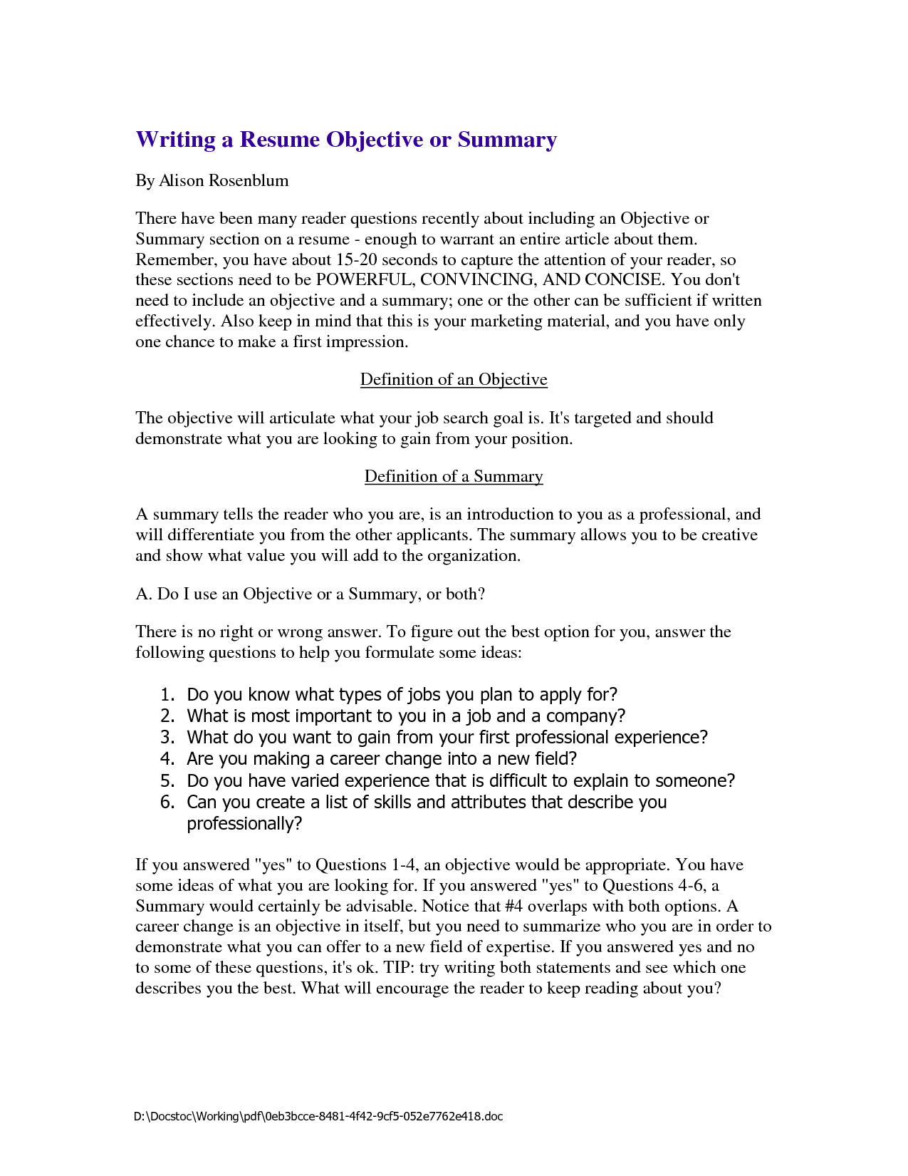 Resume Summary For Writing A Resume Objective Or Summary