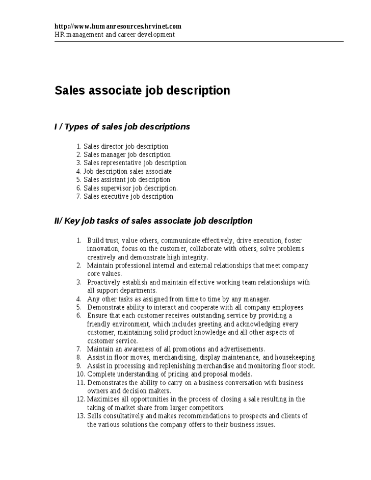 responsibilities of sales associate