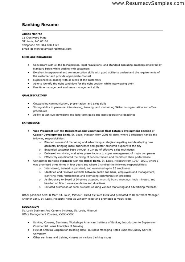 Resume Objective For Bank Teller