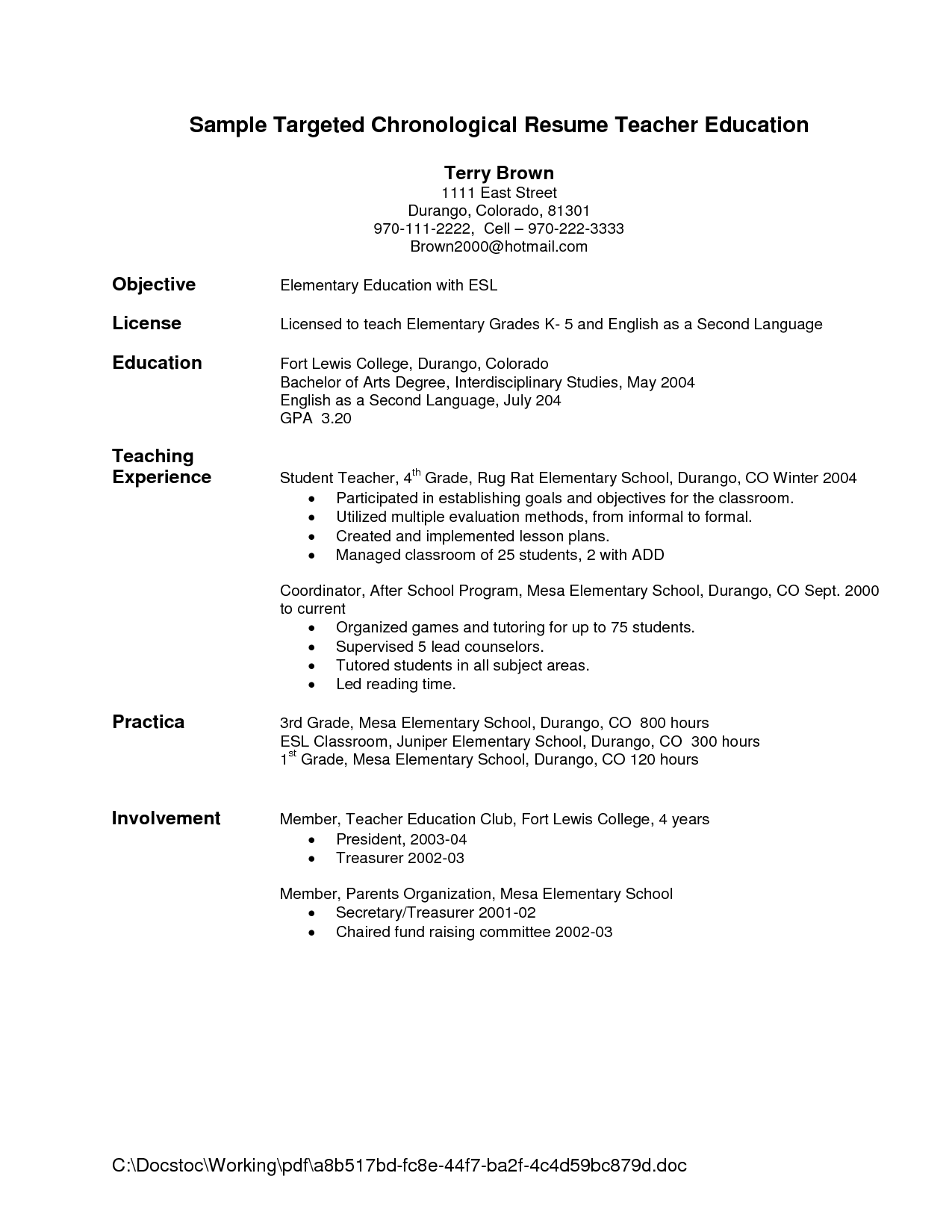 Resume Education Example Sample Targeted Chronological Resume Teacher Education