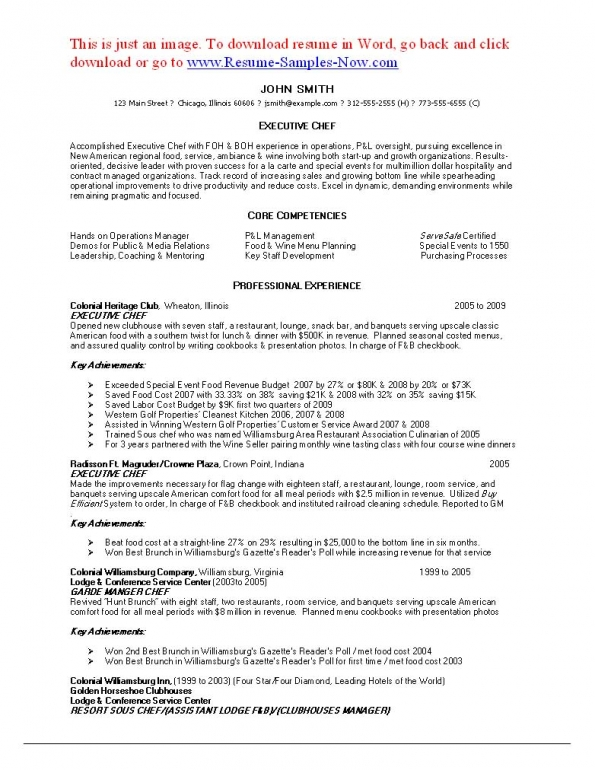sous chef resume template chef resume examples