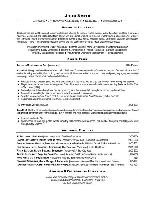 Sample Sous Chef Resume Sous Chef Cv Sample Chef Resume Example  Cook Resume Examples