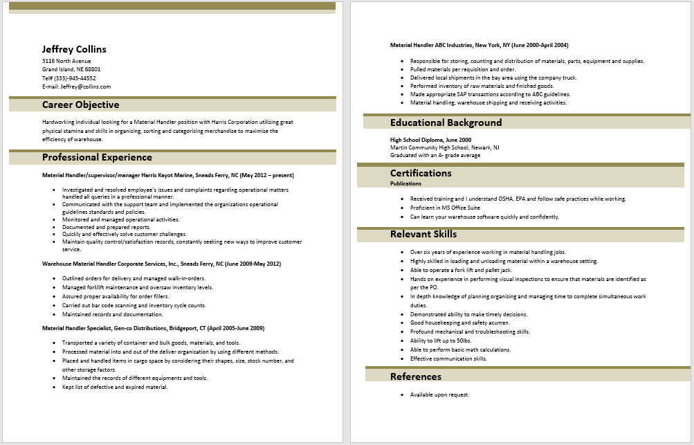 10 Material Handler Resume Sample SampleBusinessResume Com