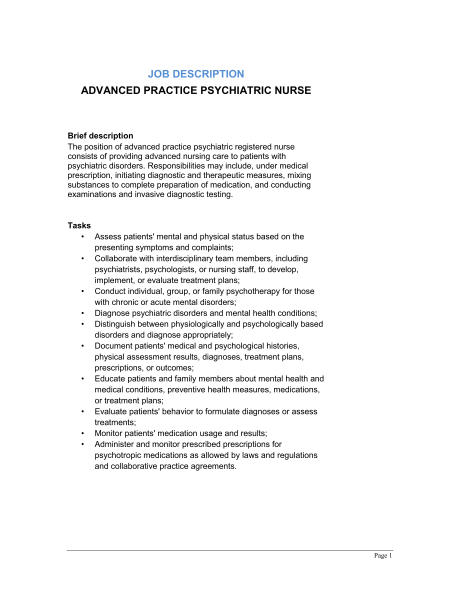 Hiring Registered Nurse Job Description Sample