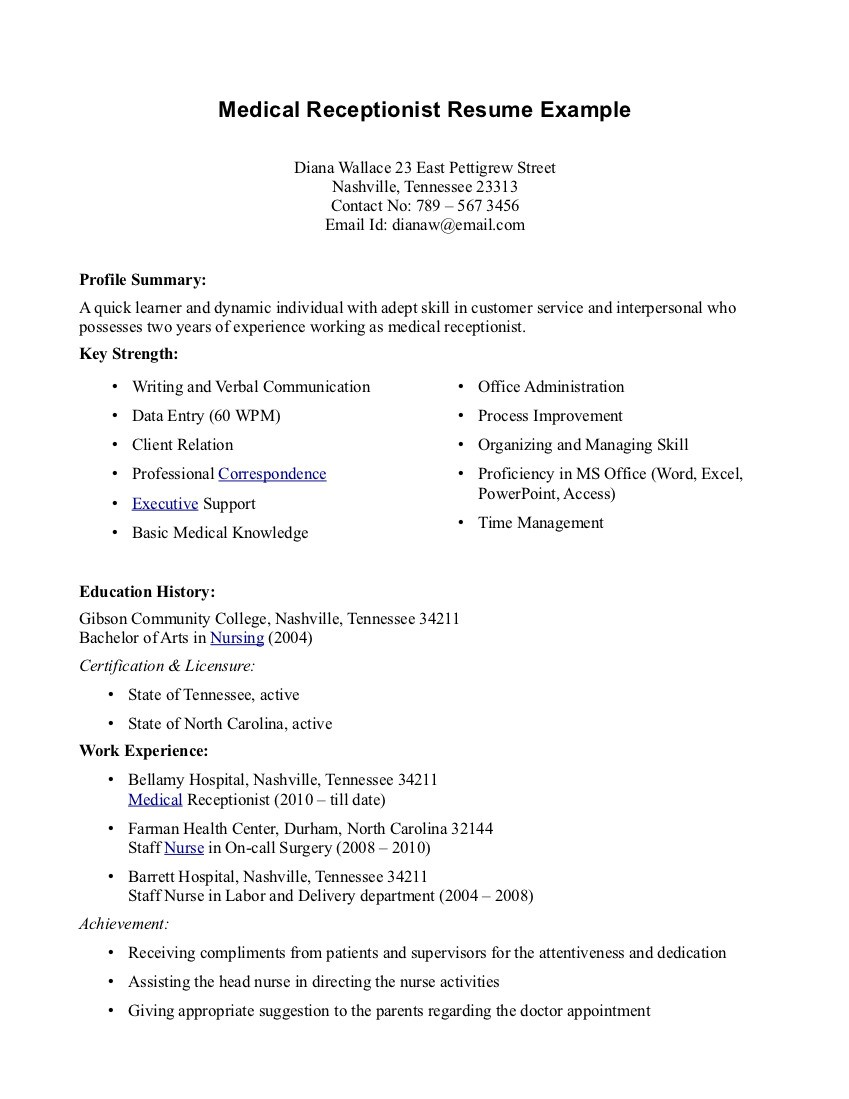 Best Resume Objective Receptionist Medical Receptionist Resume