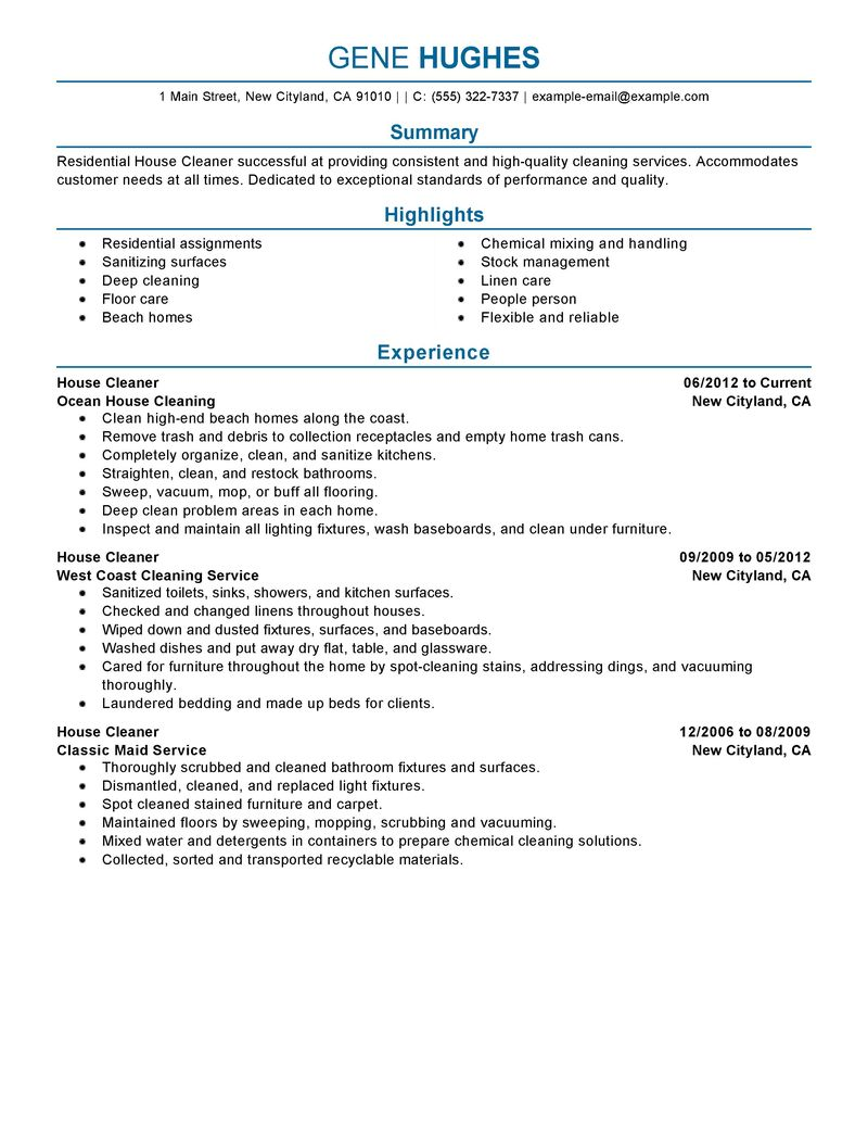 resume job description for cleaner