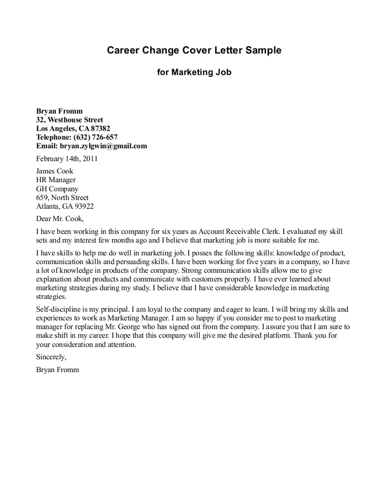 change in career path cover letter