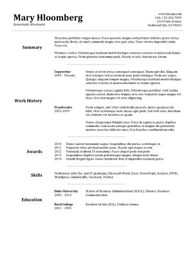 Free Basic Resume Examples Resume Builder  SampleBusinessResumecom  SampleBusinessResumecom