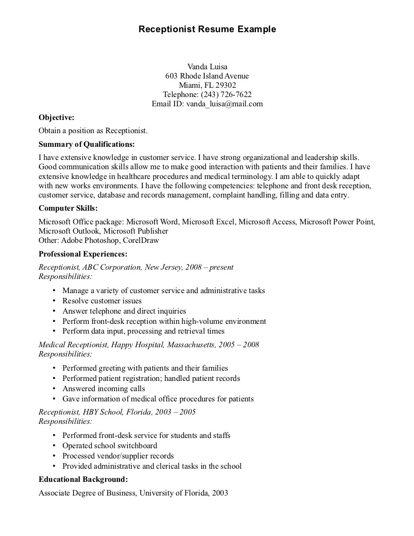 Front Desk Receptionist Job Resume For Medical Office Resume And