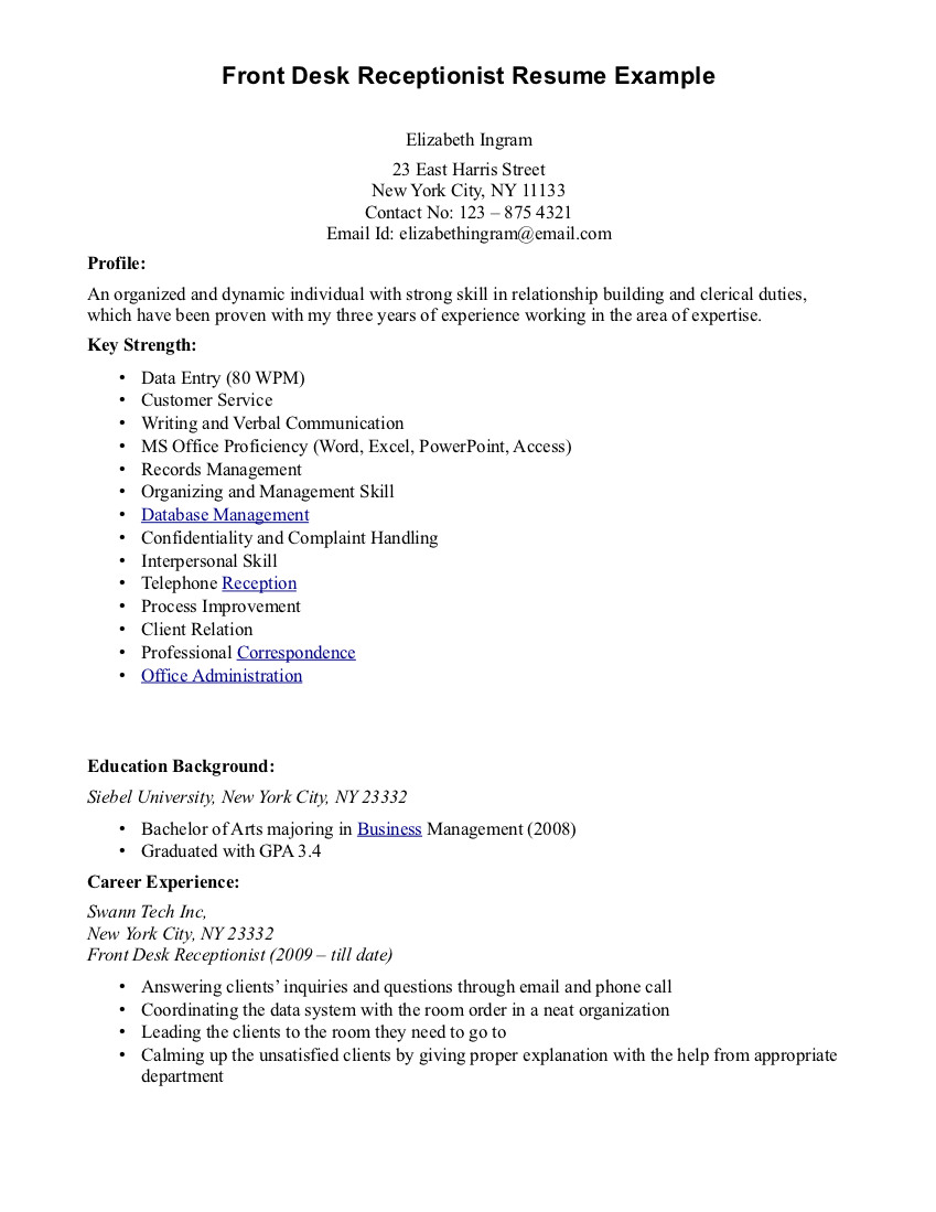 Resume Examples Receptionist  Resume Examples For Receptionist