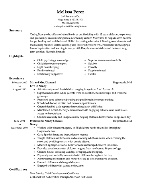 Objective For Nanny Resume