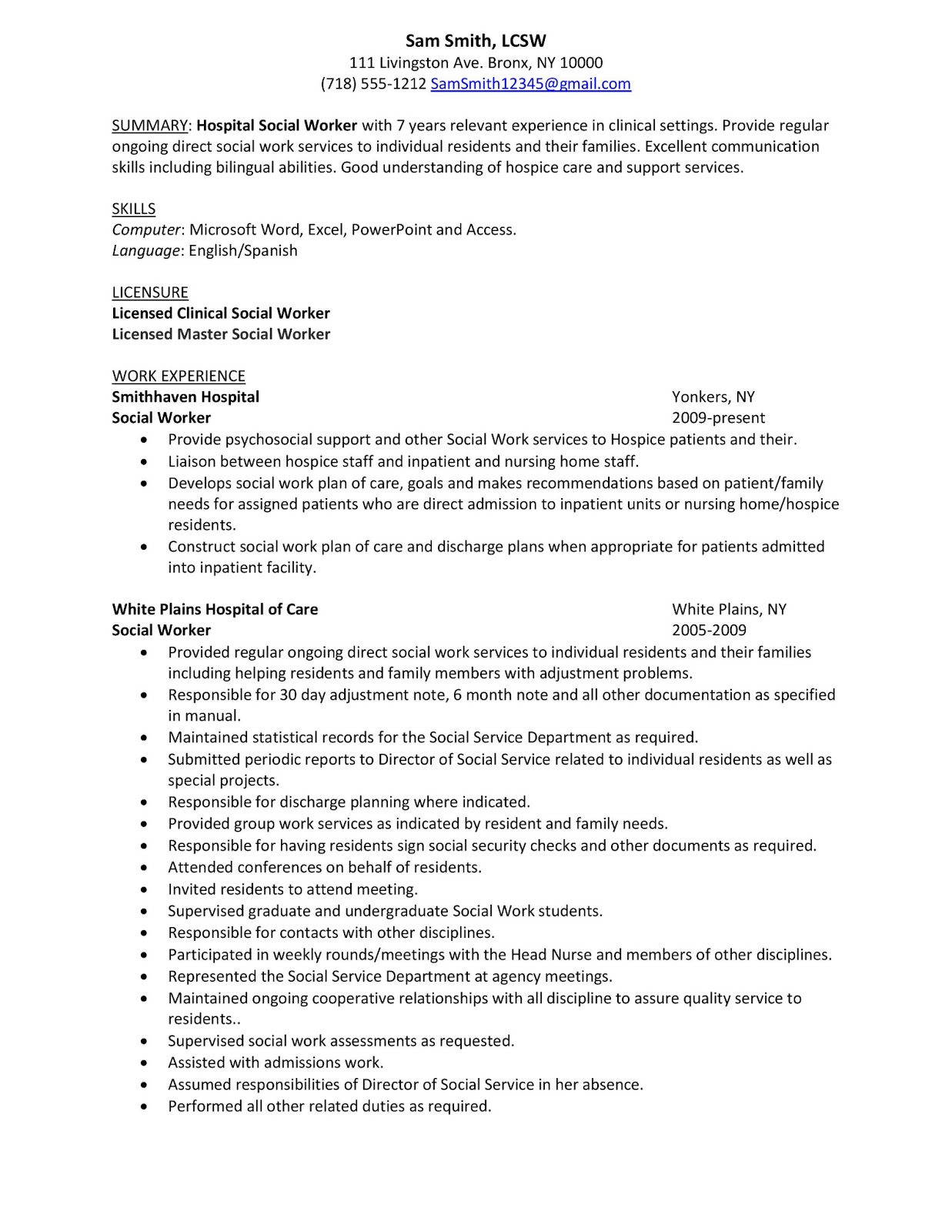 Resume For Hospital Job Social Work Resume Objective Statement