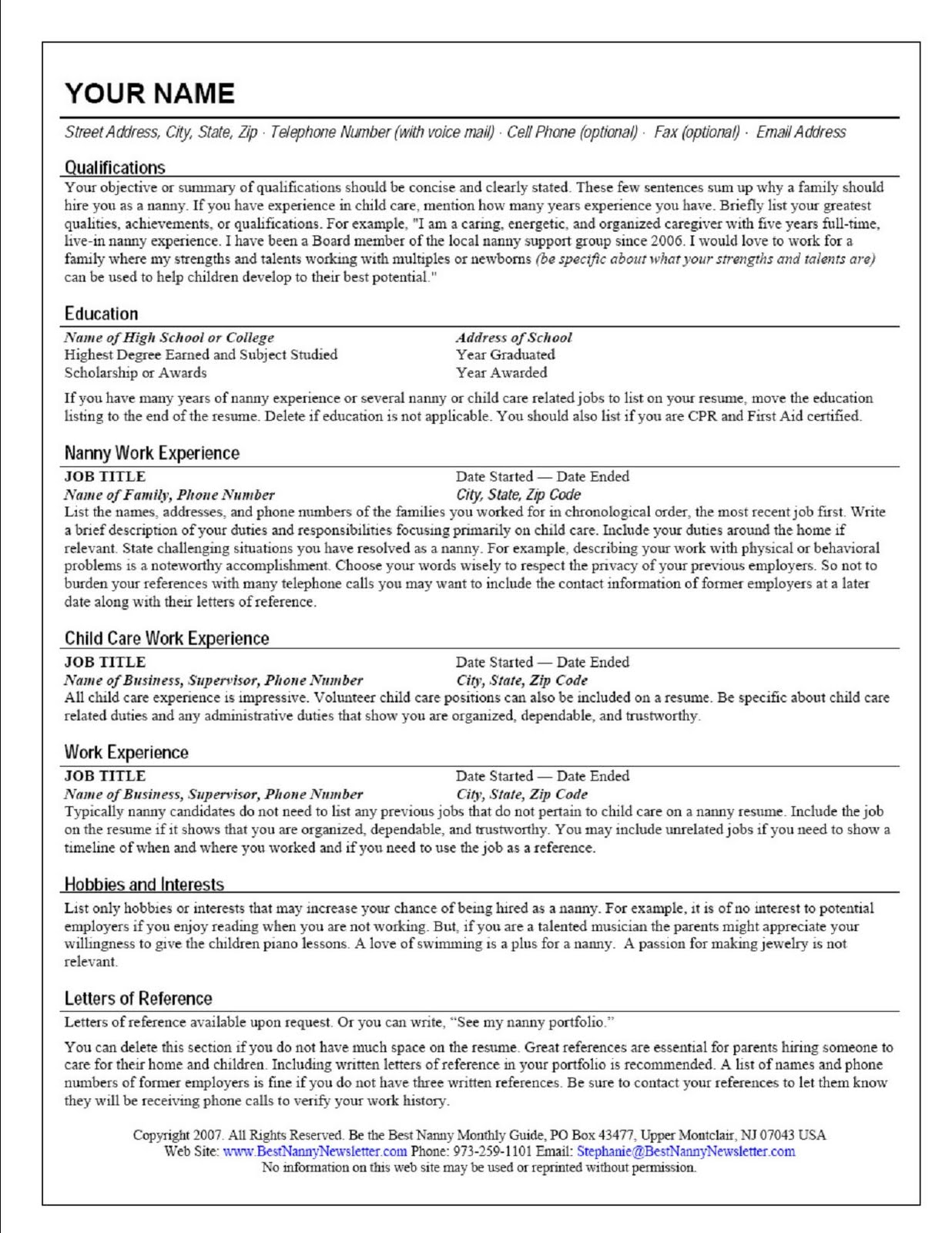 professional nanny resume sample
