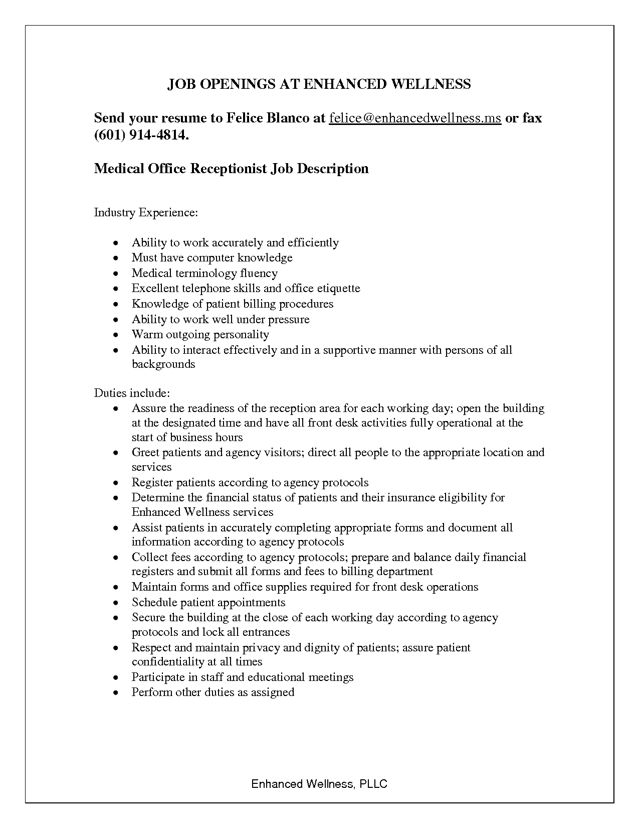 Medical Assistant Receptionist Resume Job Opening Resume For Ofice Receptionist Job Description