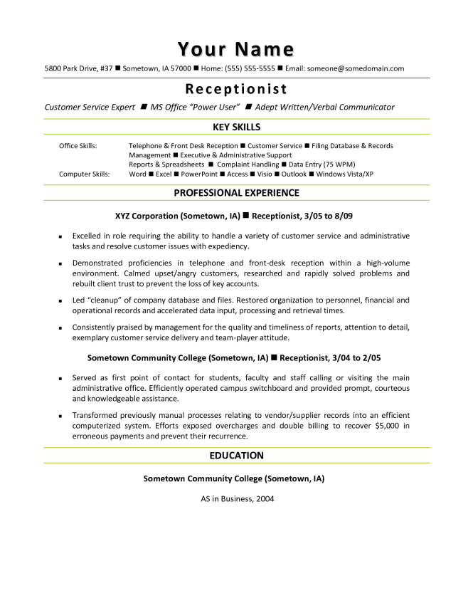 resume template for receptionist resume sample