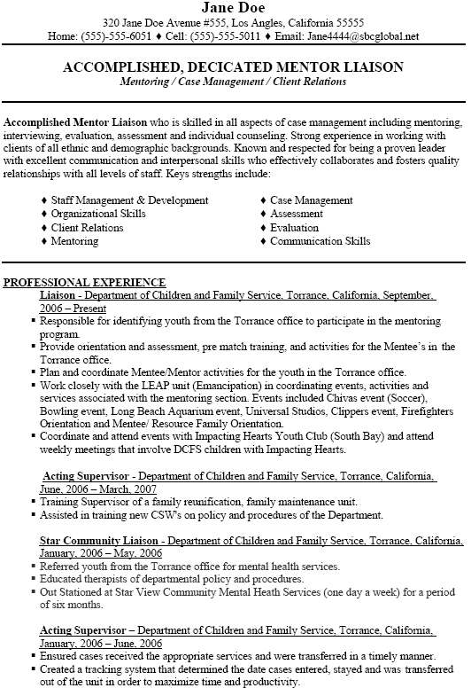 sample resume social worker supervisor
