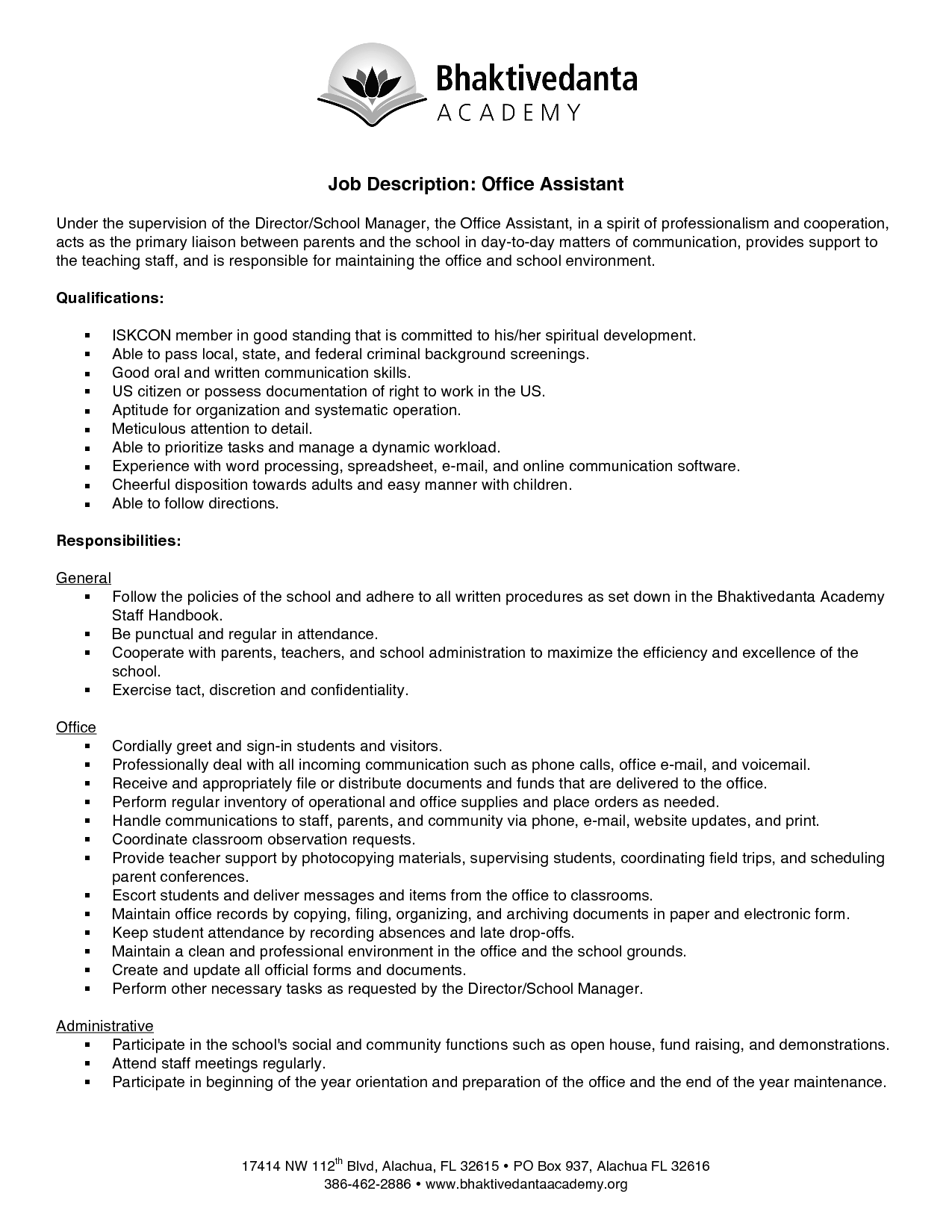 Office Assistant Job Description Resume Qualification