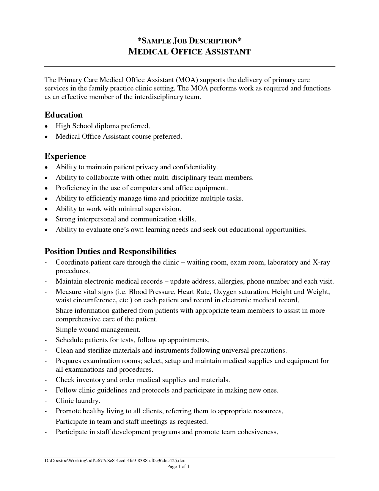 Resume For An Office Assistant Office Assistant Job Description Resume 2016